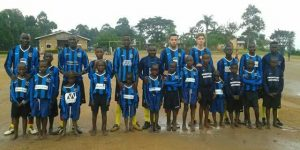 Letchworth Eagles kit donated to the charity KISS - Kiddies Support Scheme found its way to Uganda